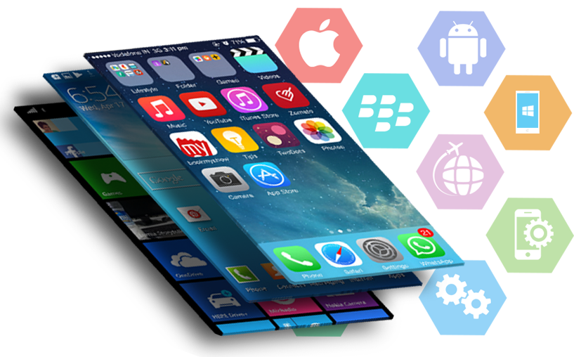 Mobile apps and various platforms like Android, iOS displayed
